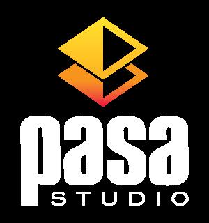 pasa studio logo reverse