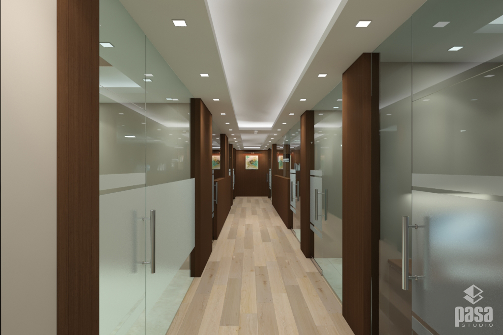Brown Wooden Interior with Glass Office Design
